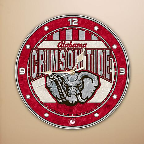"Collegiate 12"" Art Glass Wall Clock - University of Alabama Crimson..."