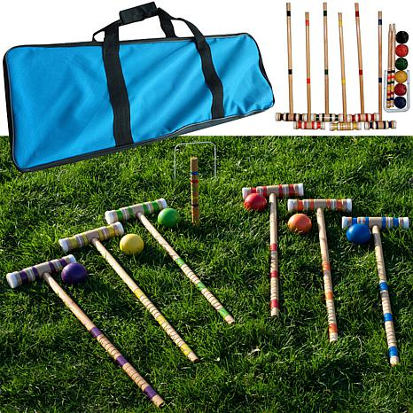 complete croquet set with carrying case 6582233 hsn. Black Bedroom Furniture Sets. Home Design Ideas