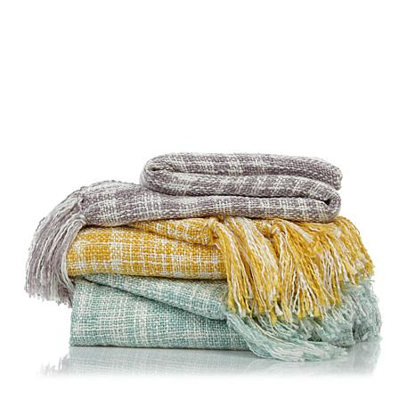 Concierge Collection Elements Tweed Knit Throw w/Fringe