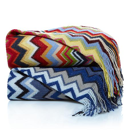 Concierge Collection Elements Zigzag Throw w/Fringe