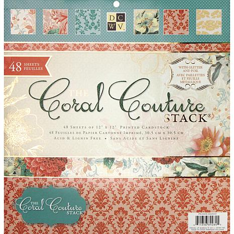 """Coral Couture Paper Stack 12"""" x 12"""" - 48 Sheets"""