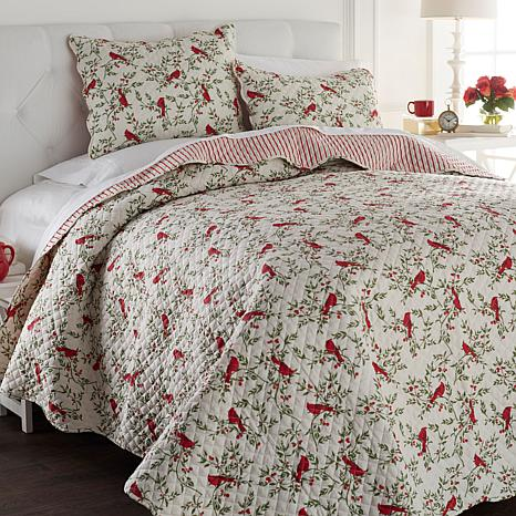 Cottage Collection 100% Cotton Cardinal 3pc Quilt Set
