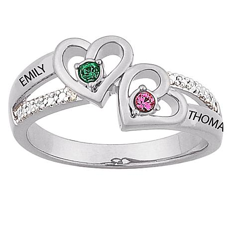 Sterling Silver Couple S Heart Birthstone Color Crystal And Name