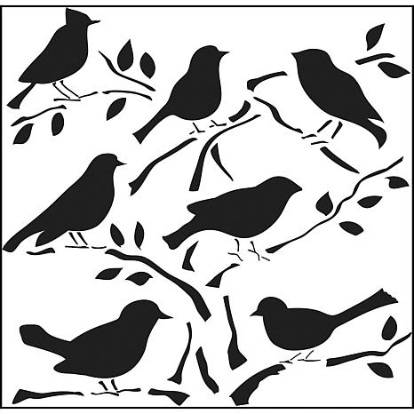 "Crafters Workshop 12"" x 12"" Plastic Template - Birds"