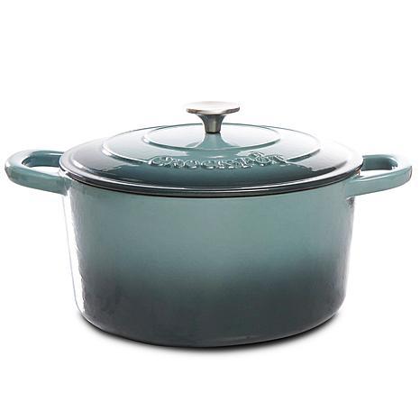 Crock Pot Zesty Flavors 7 Quart Round Cast Iron Dutch Oven in Slate...