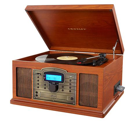 Crosley 5-in-1 Troubadour Vinyl Turntable with CD & Cassette Player