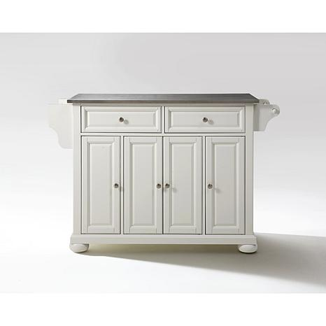 Crosley Alexandria Stainless Steel Top Kitchen Island White 7743697 Hsn