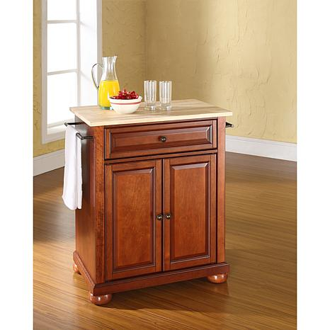 Crosley Alexandria Natural Wood Top Portable Kitchen Island - Classic  Cherry Finish