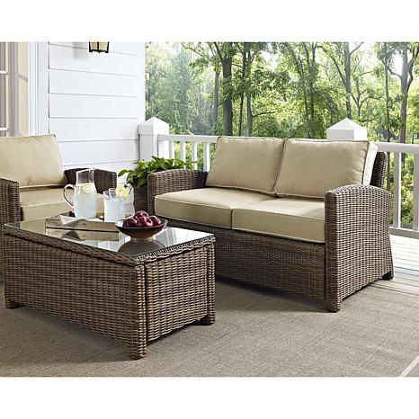 Wondrous Crosley Bradenton Outdoor Wicker Loveseat With Sand Cushions Uwap Interior Chair Design Uwaporg