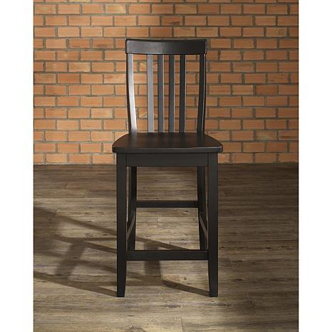 "Crosley Furniture School House 2-piece 24"" Bar Stool Set - Black"