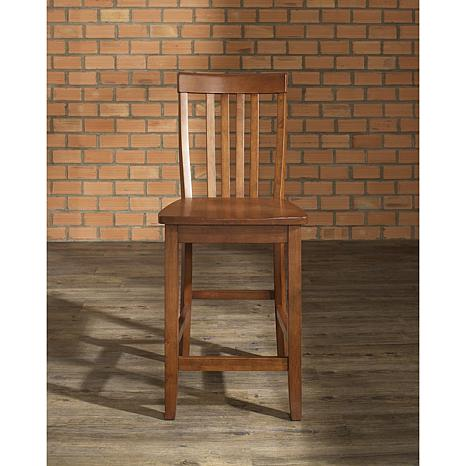 "Crosley Furniture School House 2-piece 24"" Bar Stool Set - Cherry"