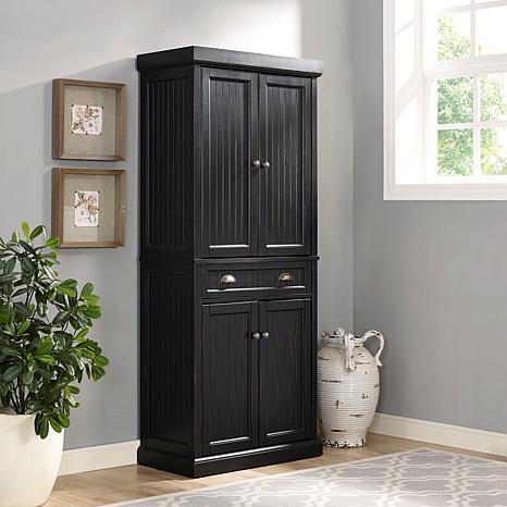 Crosley Furniture Seaside Kitchen Pantry Distressed Black