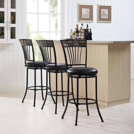Crosley Furniture Templeton Swivel Bar Stool -Black Gold/Black Cushion