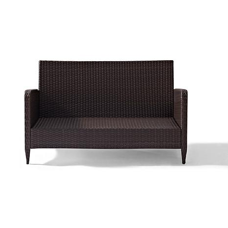crosley kiawah outdoor wicker loveseat sangria