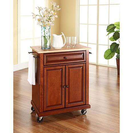 Crosley Natural Wood Top Portable Kitchen Cart - Classic Cherry Finish