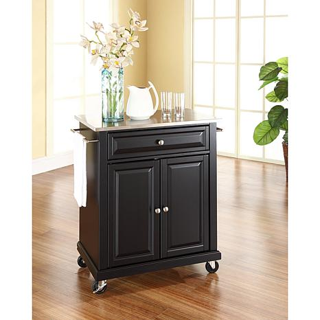 Crosley Stainless Steel Top Portable Kitchen Cart - Black