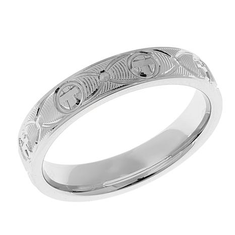 Cross Design 4mm Textured Band Ring