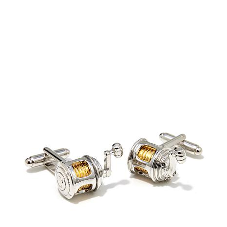 Cufflinks, Inc. Men's 2-Tone Fishing Reel Cuff Links