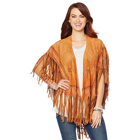 Curations Faux Suede Fringe Cape