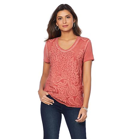 Curations Mixed-Media Embroidered Tee