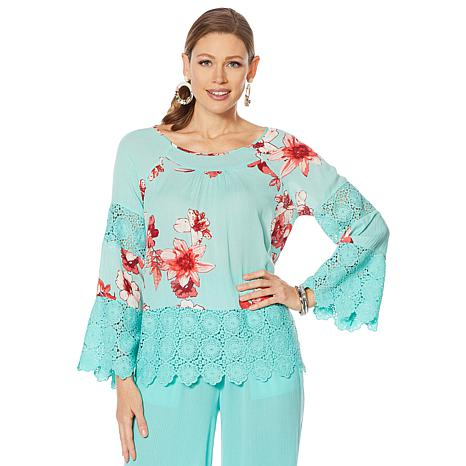 Curations Printed Gauze Lace-Trimmed Blouse