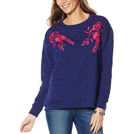 Curations Quilted Sweatshirt with Applique