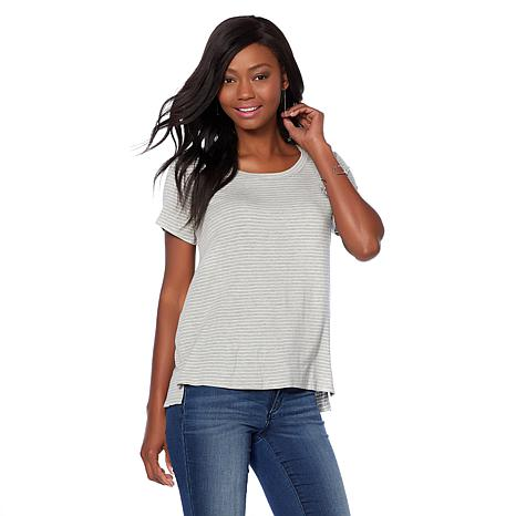 Daisy Fuentes Graphic Tee - Stripe