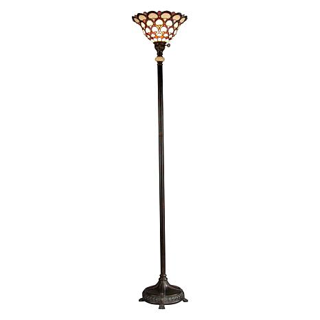 Dale Tiffany Peacock-Design Torchiere Floor Lamp - 71""