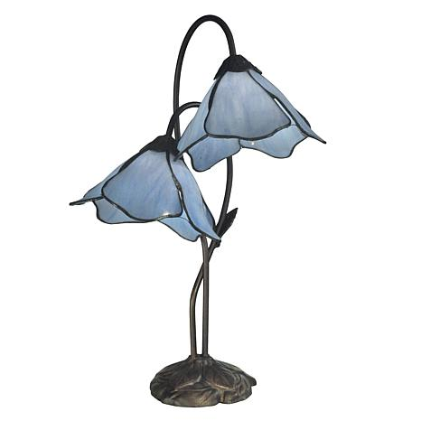 Dale Tiffany Poelking 2-Light Table Lamp - Blue Lily