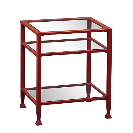 Exceptionnel Dayton Metal/Glass End Table   Red
