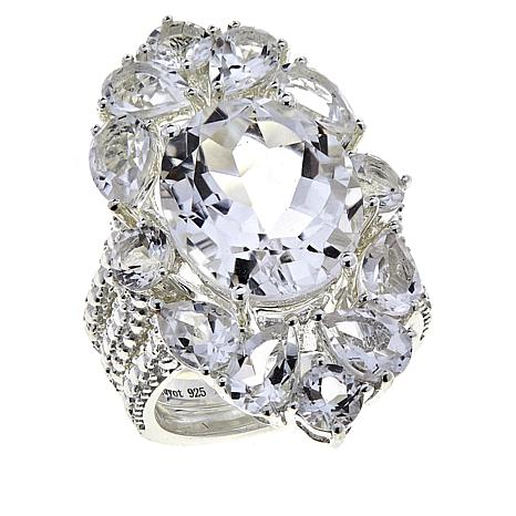 "Deb Guyot 10.6ctw Herkimer ""Diamond"" Quartz 3-piece Ring Set"