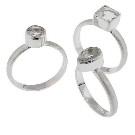 "Deb Guyot Designs 2.75ctw Herkimer ""Diamond"" Quartz 3-piece Ring Set"