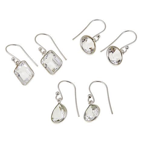 "Deb Guyot Faceted Herkimer ""Diamond"" Quartz 3-piece Earring Set"
