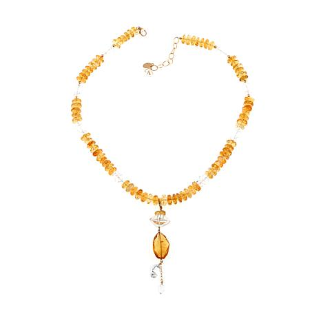 Deb Guyot Herkimer and Citrine 2-in-1 Pendant-Necklace