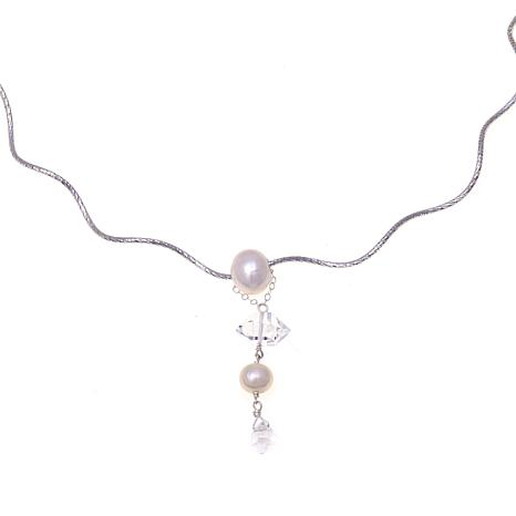 "Deb Guyot  Herkimer ""Diamond"" Quartz and Pearl Necklace"
