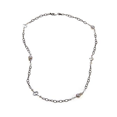 Deb Guyot  Herkimer Quartz & Pearl Station Necklace