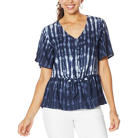Democracy Button-Down Printed Peplum Top