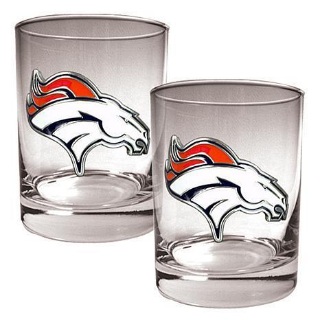 Denver Broncos 2pc Rocks Glass Set