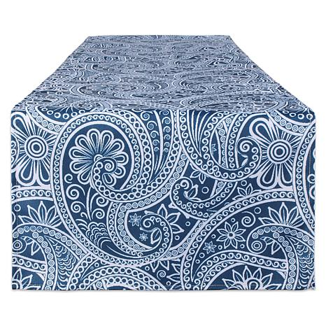 """Design Imports 14"""" x 108"""" Blue Paisley Print Outdoor Table Runner"""