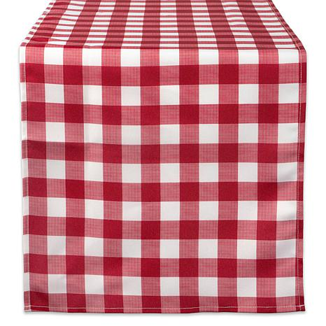 """Design Imports 14"""" x 108"""" Red Check Outdoor Table Runner"""