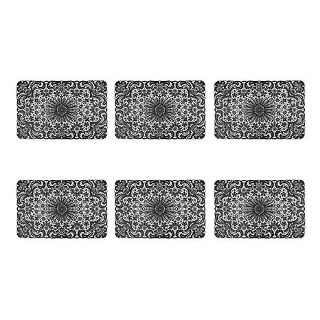Black Lace Vinyl Placemats Set