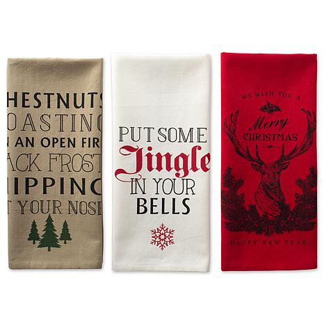 Design Imports Holiday Stag Christmas Print Kitchen Towel Set of 3