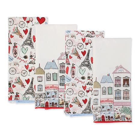 Design Imports Paris Springtime Embellished Kitchen Towel Set of 4