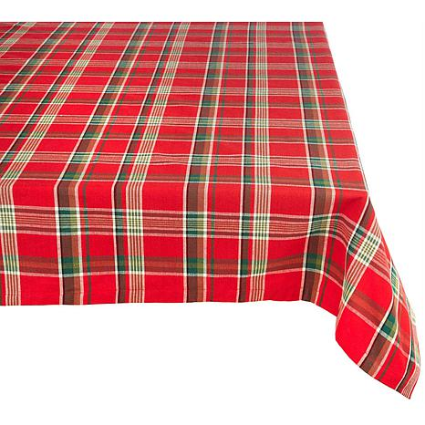 """Design Imports Red Plaid Holiday Tablecloth 60"""" x 84"""""""