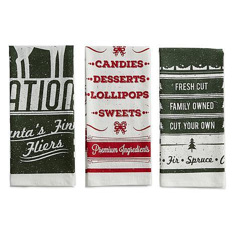 Design Imports Vintage Flour Sack Kitchen Towel Set of 3