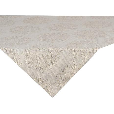 Design Imports Winter Sparkle Jacquard Metallic Square Table Topper