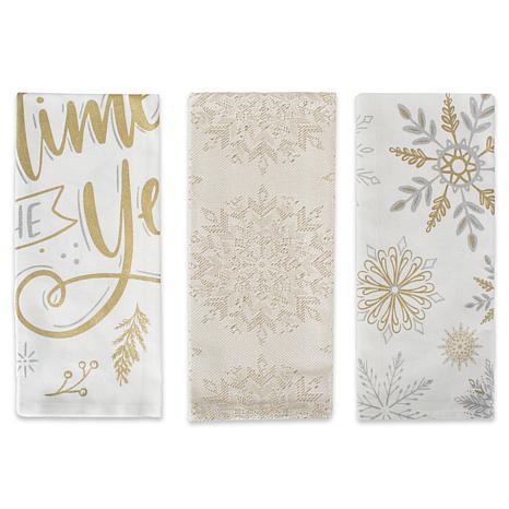 Design Imports Winter Sparkle Kitchen Towel Set of 3