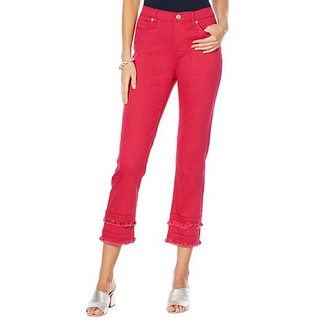 DG2 by Diane Gilman Classic Stretch Double Frayed Crop Jean - Fashion