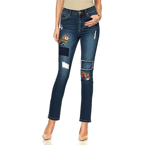 DG2 by Diane Gilman Classic Stretch Embroidered Skinny Jean