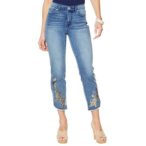 DG2 by Diane Gilman Curved Hem Sequin Jean